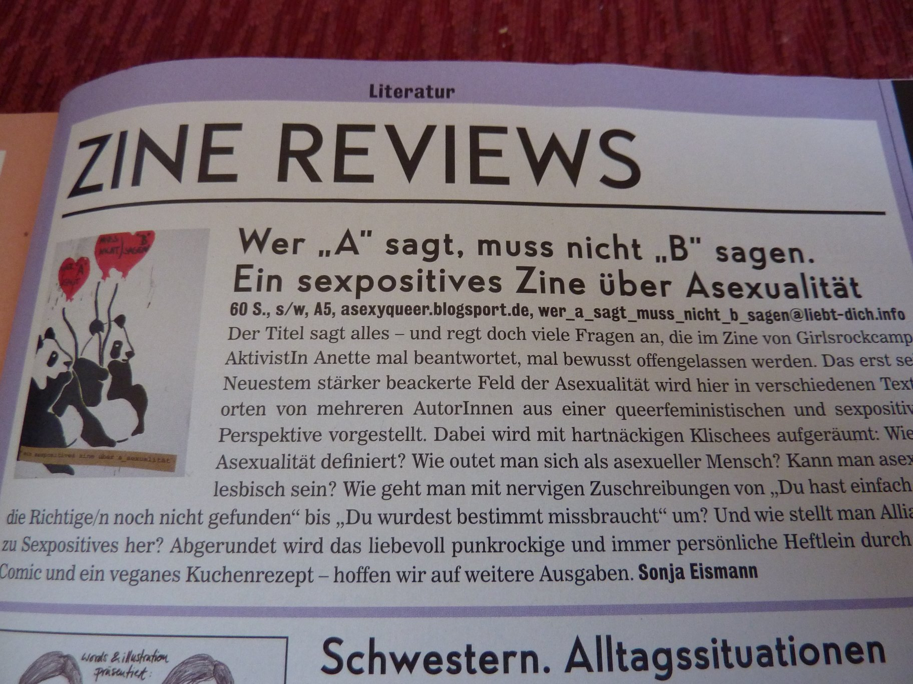 Zine Review im Missy Magazine 01/12